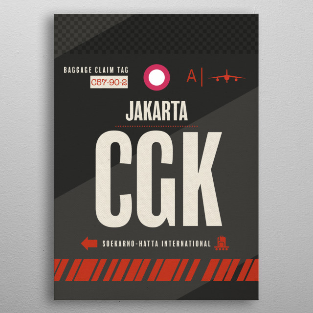 Jakarta CGK Indonesia Airport Code Baggage Claim Luggage Tag Series metal poster