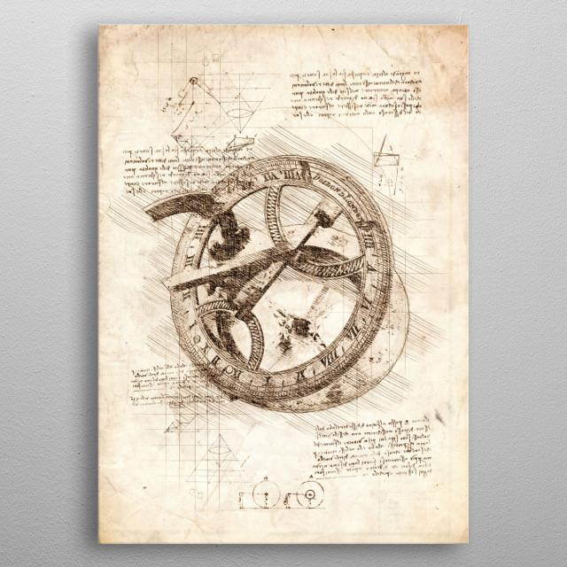 Sketch of a Brass Sundial metal poster