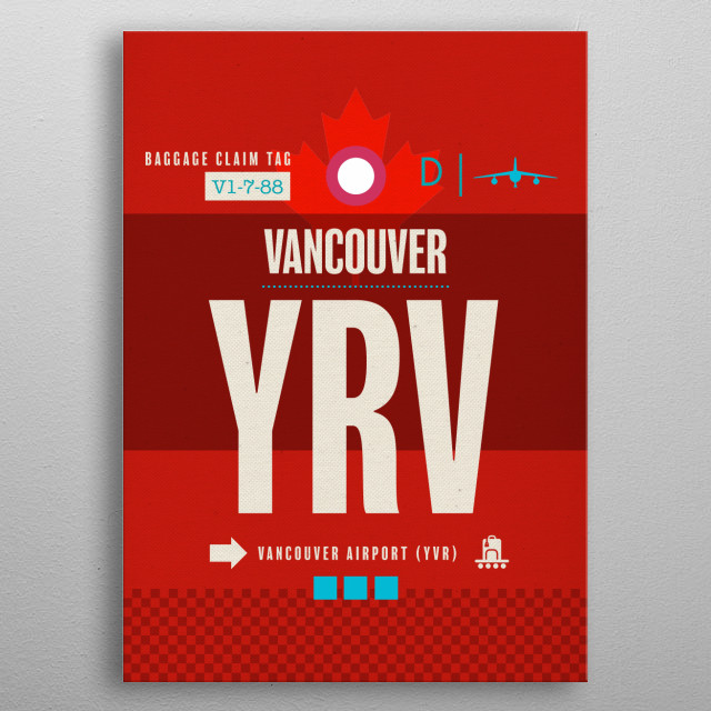 Vancouver YRV Canada Airport Code Baggage Claim Luggage Tag Series metal poster