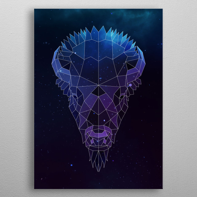 Galaxy bison geometric animal is a combination of low poly and double exposure art of an animal and galaxy image. metal poster