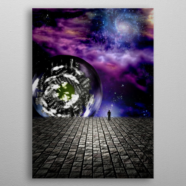 Man peers out into the abyss in futuristic scene metal poster