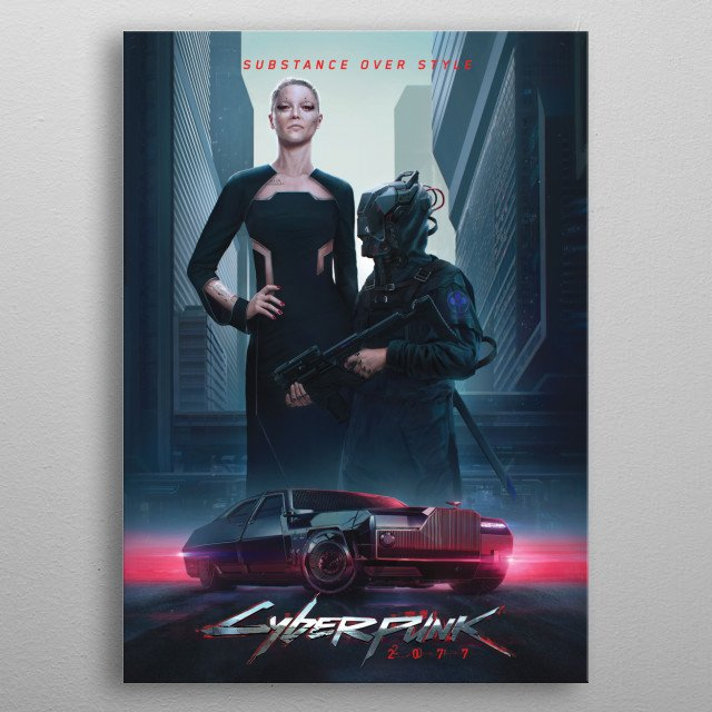 Neomilitarism, official Cyberpunk 2077 graphics metal poster