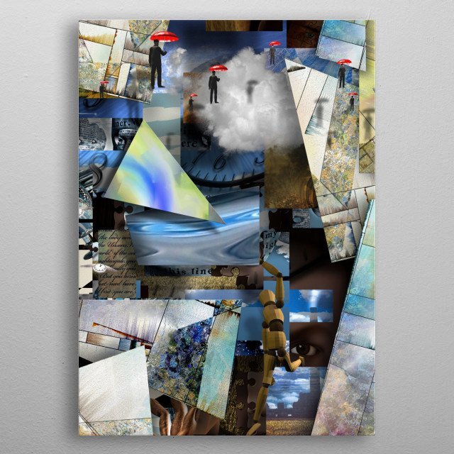 Human imagination and art leap. Complex surreal composition metal poster