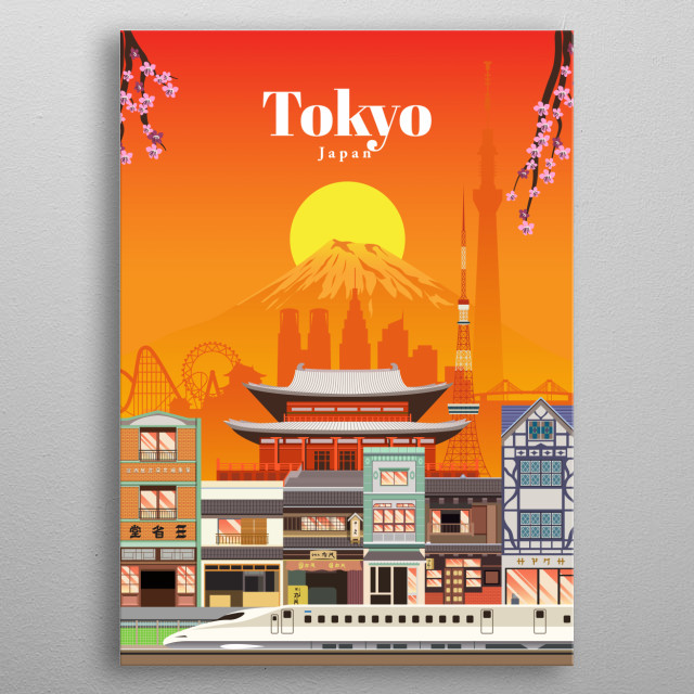 Digital illustration of Tokyo's city skyline and architecture of its markets, and their favourite mode of transit - the bullet train. metal poster