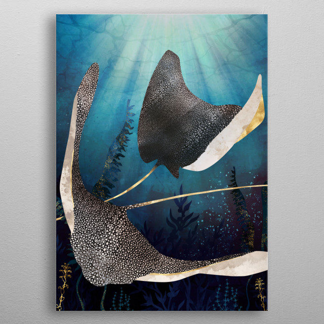 Abstract depiction of metallic stingrays with gold, blue and kelp metal poster