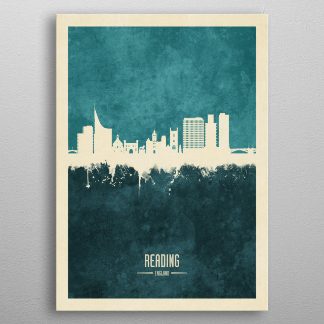 Watercolor art print of the skyline of Reading, England, United Kingdom metal poster