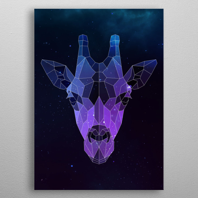 Galaxy giraffe geometric animal is a combination of low poly and double exposure art of an animal and galaxy image. metal poster