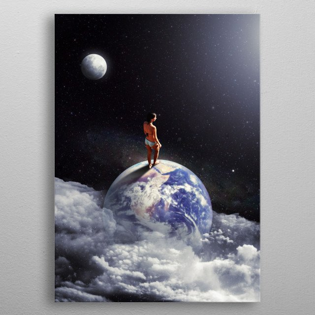 A girl in the bikini ready to escape to space. metal poster
