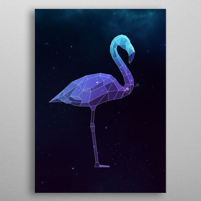 Galaxy flamingo geometric animal is a combination of low poly and double exposure art of an animal and galaxy image. metal poster