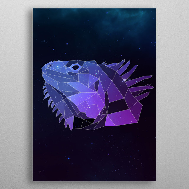 Galaxy iguana geometric animal is a combination of low poly and double exposure art of an animal and galaxy image. metal poster