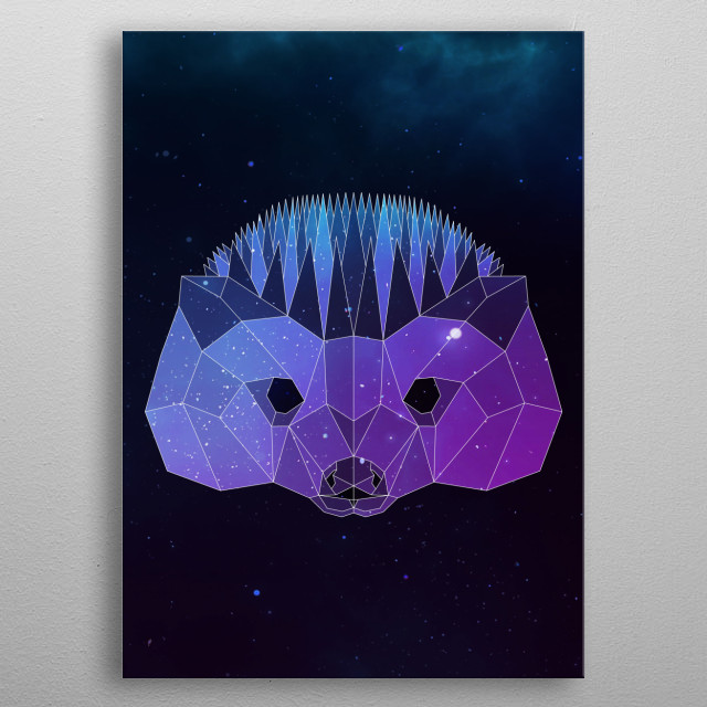 Galaxy hedgehog geometric animal is a combination of low poly and double exposure art of an animal and galaxy image. metal poster