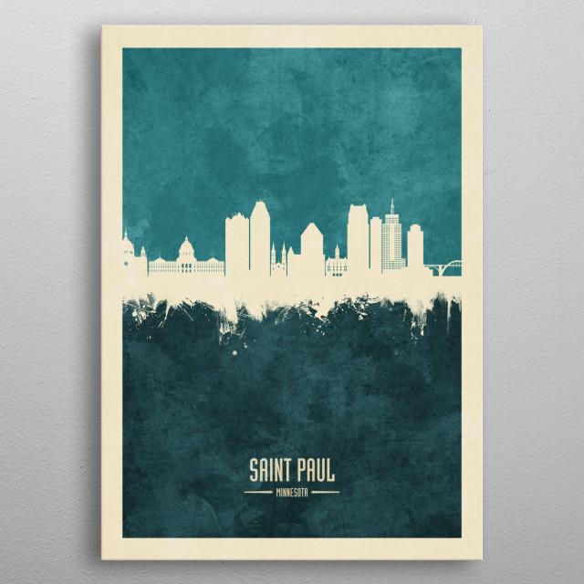 Watercolor art print of the skyline of Saint Paul, Minnesota, United States metal poster