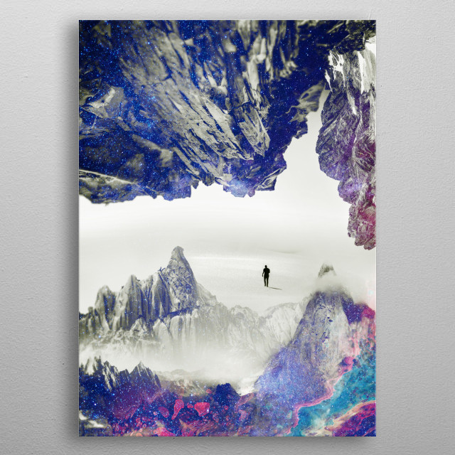 A man hiking to a magic mountain made of neon fantasy lights metal poster