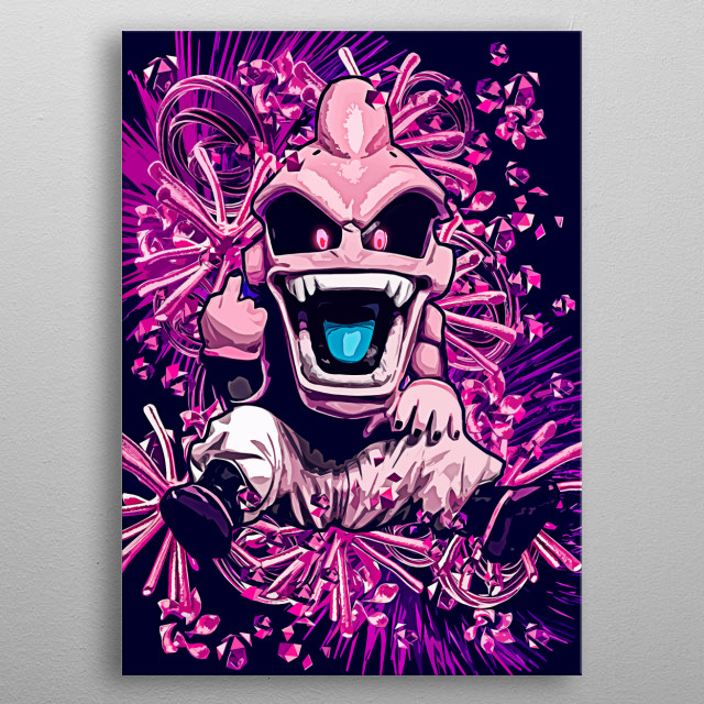 funky dragon ball z kid buu middle finger otaku metal poster