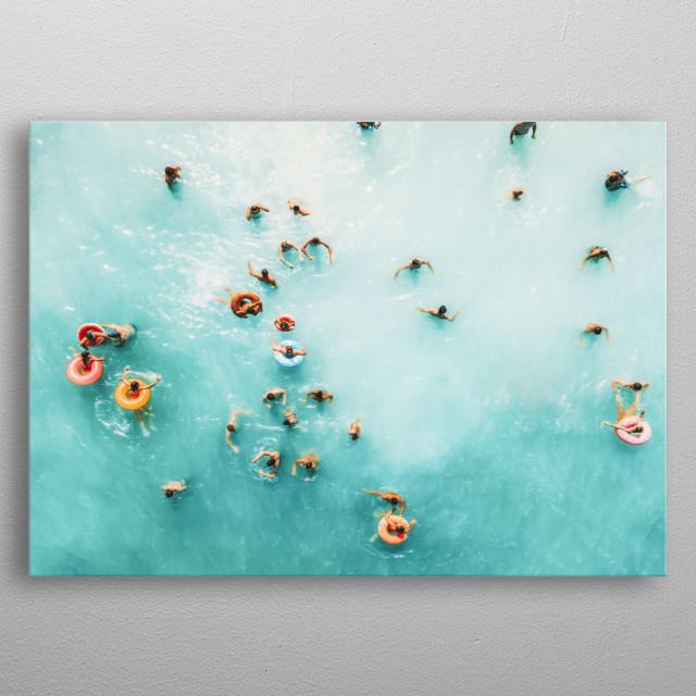 Large Ocean Poster Print, Aerial Beach Print, Aerial Print, Beach Photography, Ocean Print, Sea Print, People Print, Modern Beach Print metal poster