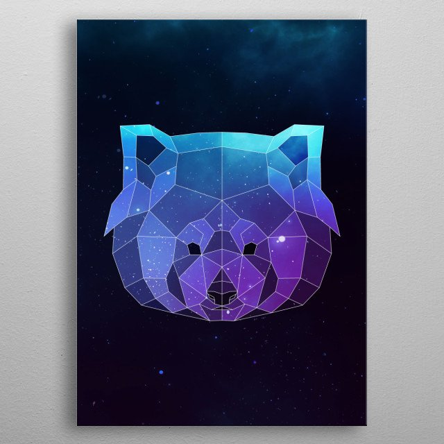 Galaxy red panda geometric animal is a combination of low poly and double exposure art of an animal and galaxy image. metal poster