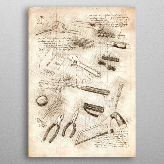 Sketch of tools metal poster