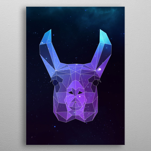 Galaxy llama geometric animal is a combination of low poly and double exposure art of an animal and galaxy image. metal poster