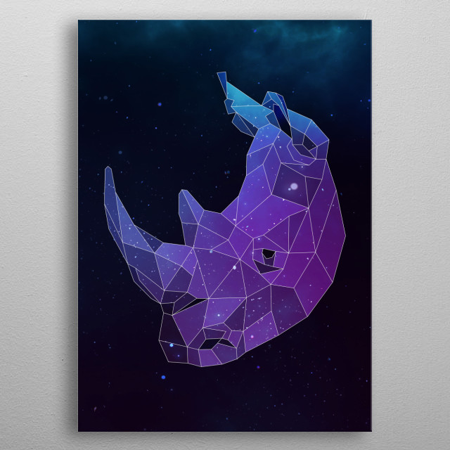 Galaxy rhino geometric animal is a combination of low poly and double exposure art of an animal and galaxy image. metal poster