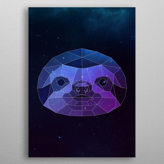 Galaxy sloth geometric animal is a combination of low poly and double exposure art of an animal and galaxy image. metal poster