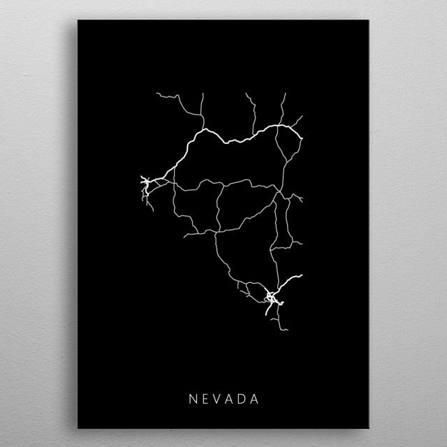 Map of Nevada created by roads and highways. metal poster