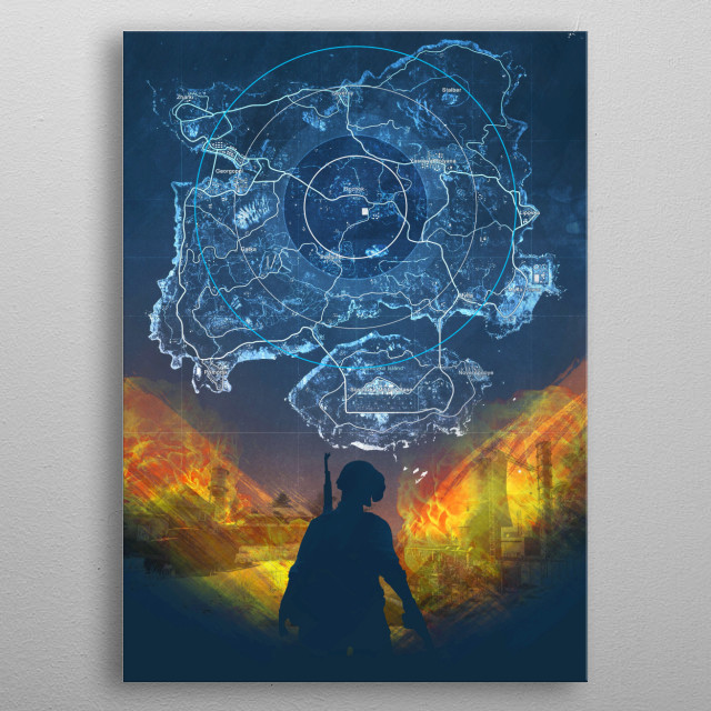 Digital composition with pubg theme metal poster