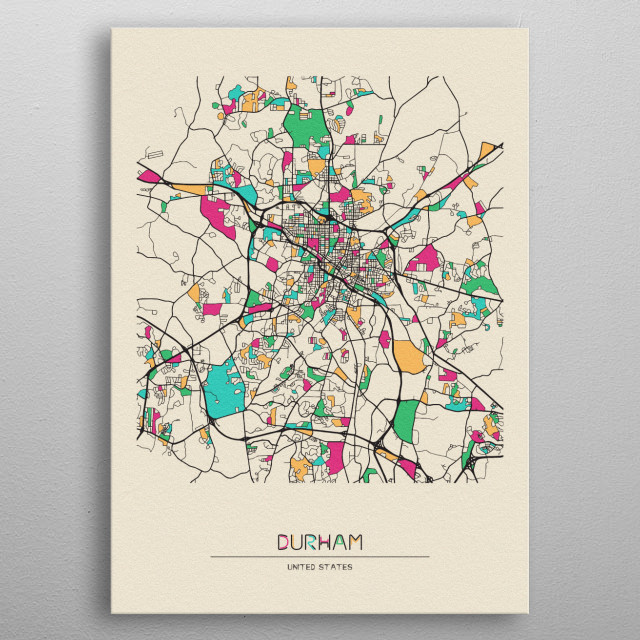 Colorful street map of Durham, United States. The map is randomly painted with modern and pop colors to give abstract look to the design. metal poster