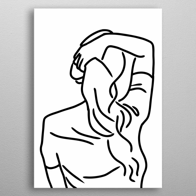 Girl in Line Art Design Illustration metal poster