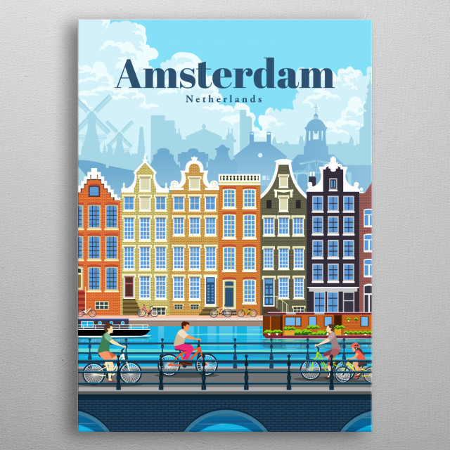 Digital illustration of Amsterdam's city skyline and architecture of their canal homes, with their favourite transit modes - boat and bikes. metal poster