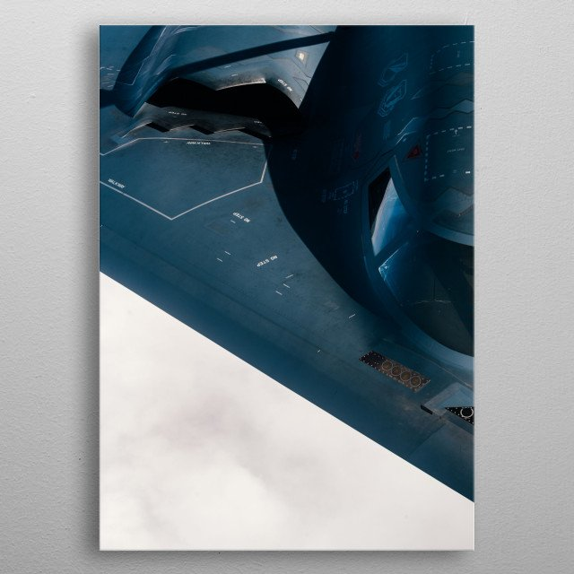 The Northrop B-2 Spirit, also known as the Stealth Bomber, is an American heavy strategic bomber metal poster