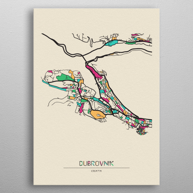 Colorful street map of Dubrovnik, Croatia. The map is randomly painted with modern and pop colors to give abstract look to the design. metal poster