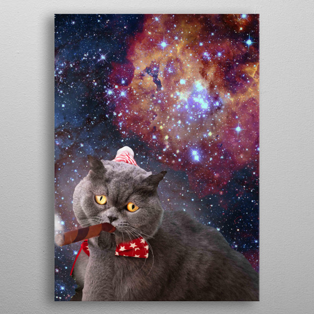 Pick up this cute funny universe cat in outer space design featuring a cosmic astro kitty cat flying through the galaxy.  metal poster