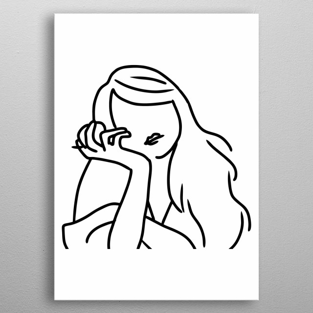 Girl in Line Art Design Illustration metal poster
