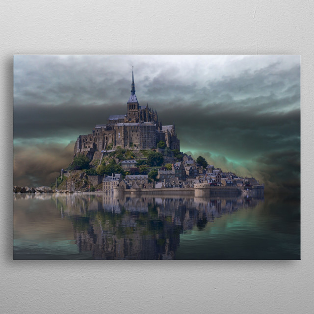 Le Mont-Saint-Michel is an island and mainland commune in Normandy, France. metal poster