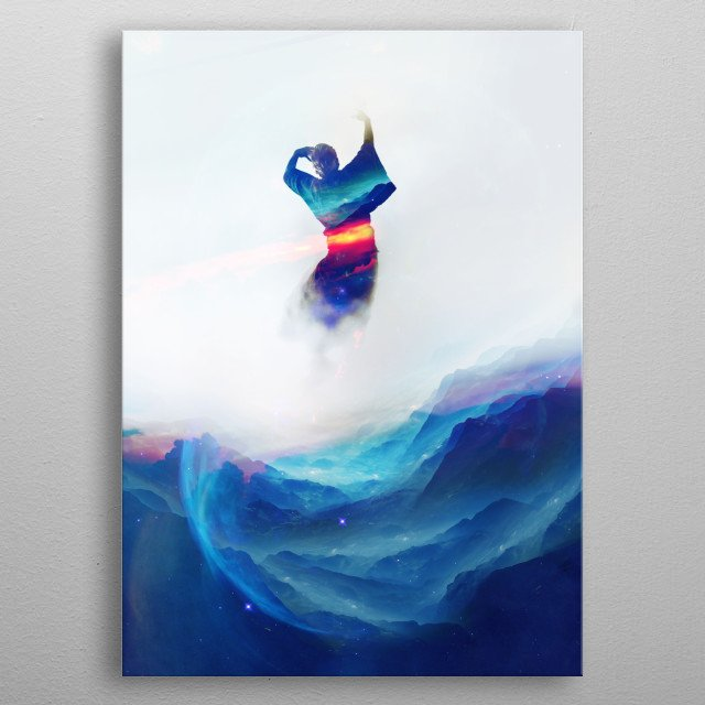 A mystical dancer made of stars and galaxies. metal poster