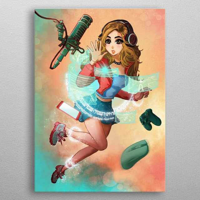Illustration of me, Pokimane with all my streaming accessories ^_^  metal poster