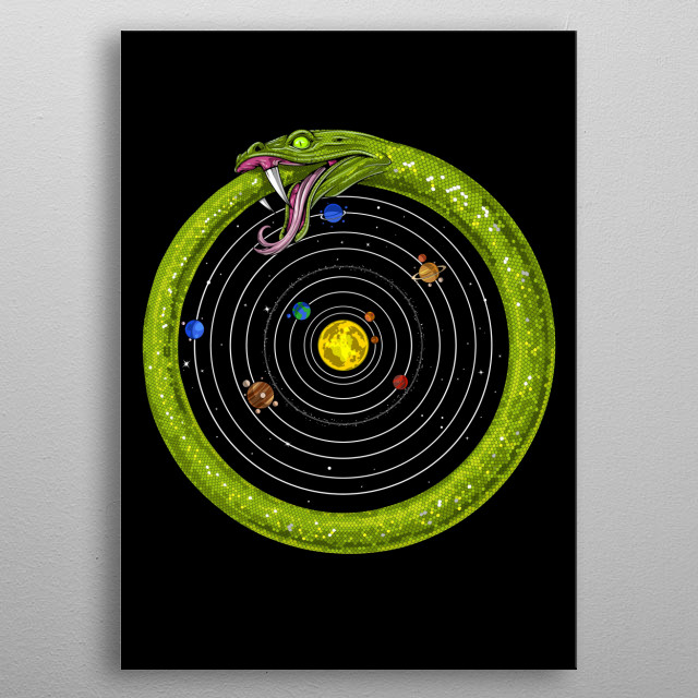 Ouroboros Snake Astronomy metal poster for men and women interested in astronomy and symbolism. metal poster