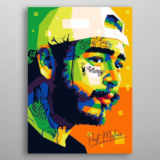 Popart illustration of an american rapper, Post Malone. metal poster