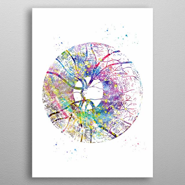 Human eye, eye anatomy, anatomy of the iris, blood supply to iris, papilla of the retina, eye, abstract eye, Medical Office Decor metal poster
