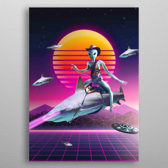 Pick up this funny alien shark design featuring a cowboy space alien riding a laser shark. This makes a perfect gift so pick one up today.  metal poster