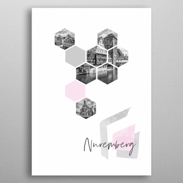 Popular monochrome cityscapes from Old Town Nuremberg in geometric shapes showcase perfectly each single moment.  metal poster