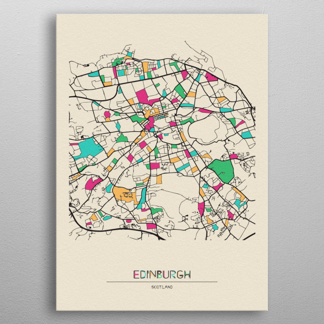 Colorful street map of Edinburgh, Scotland. The map is randomly painted with modern and pop colors to give abstract look to the design. metal poster