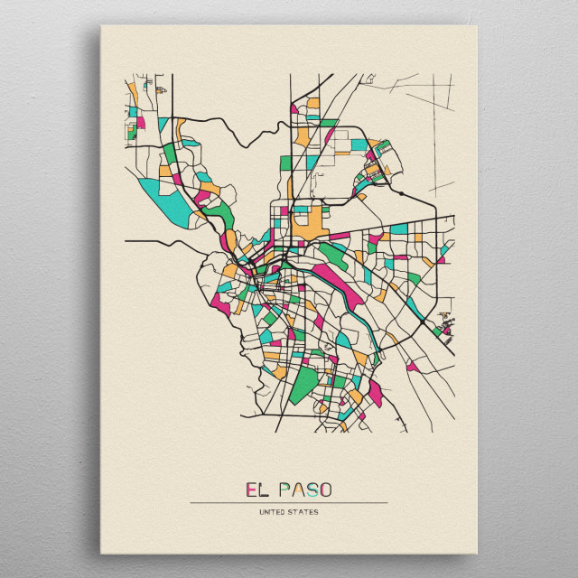 Colorful street map of El Paso, United States. The map is randomly painted with modern and pop colors to give abstract look to the design. metal poster
