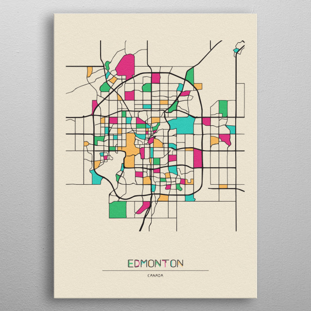 Colorful street map of Edmonton, Canada. The map is randomly painted with modern and pop colors to give abstract look to the design. metal poster