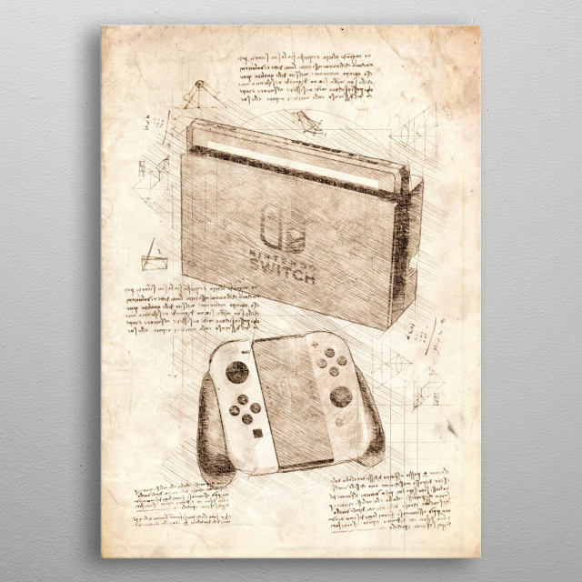 Sketch of the Nintendo Switch Docked metal poster