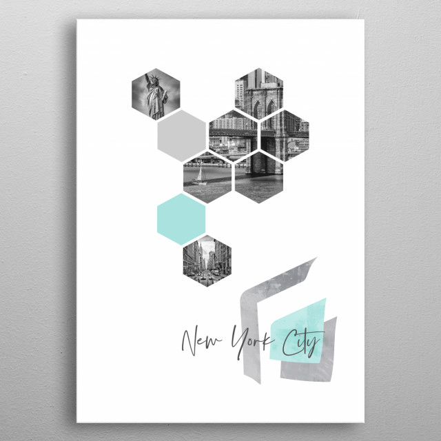 NYC in geometric shapes showcase perfectly each single moment. Discover 5th Avenue traffic, Statue of Liberty and Brooklyn Bridge. metal poster