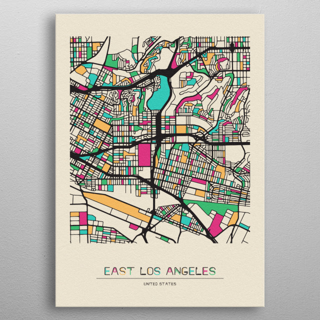 Colorful street map of East Los Angeles, USA. The map is randomly painted with modern and pop colors to give abstract look to the design. metal poster
