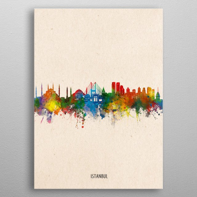 Istanbul skyline inspired by decorative,artistic,watercolor,pop art design metal poster