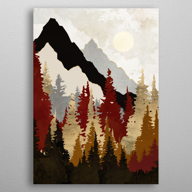 Abstract landscape of autumn trees with brown, gold and mountains  metal poster