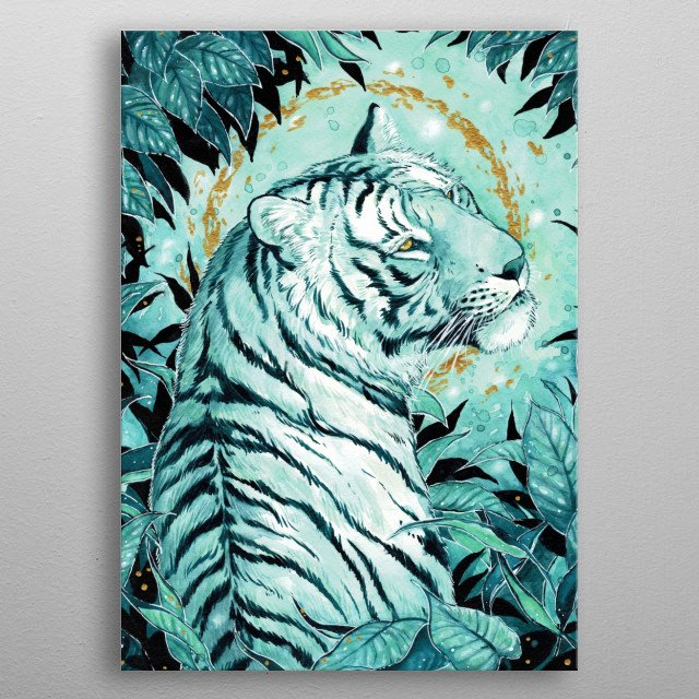 Tiger illustration inspired by teal colorpalette, which reminds me of aqua. metal poster
